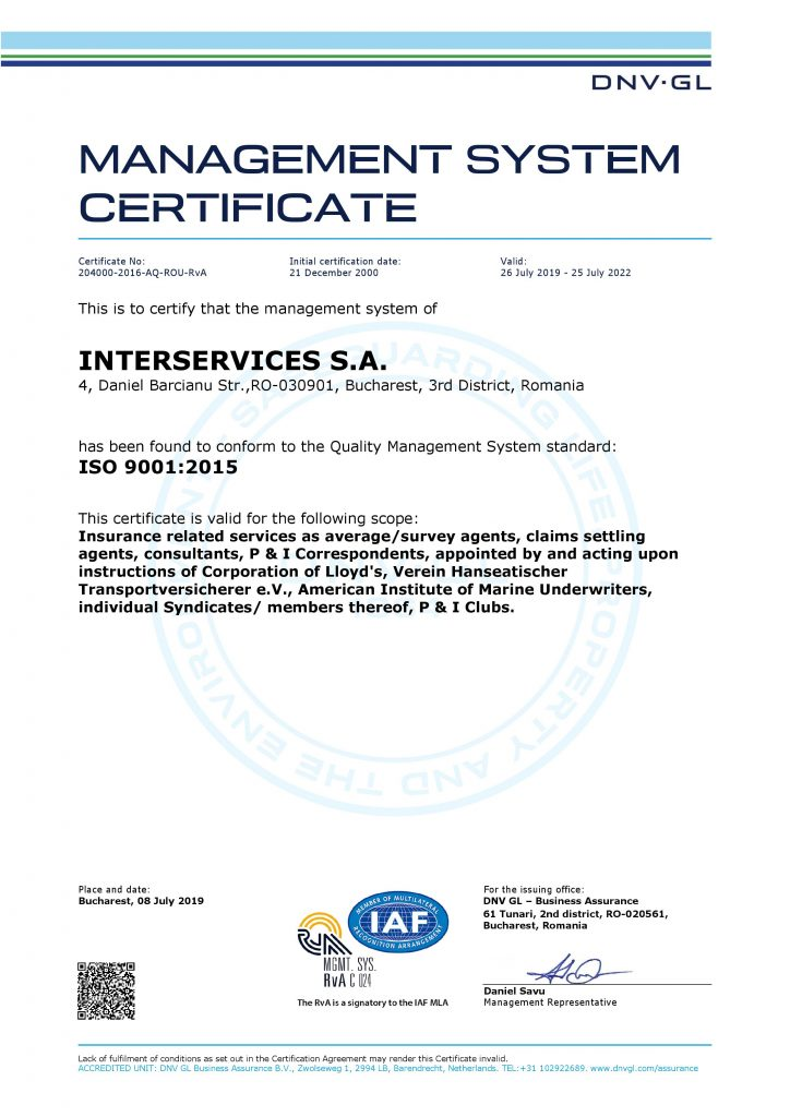 Certificat ISO 2019 Interservices